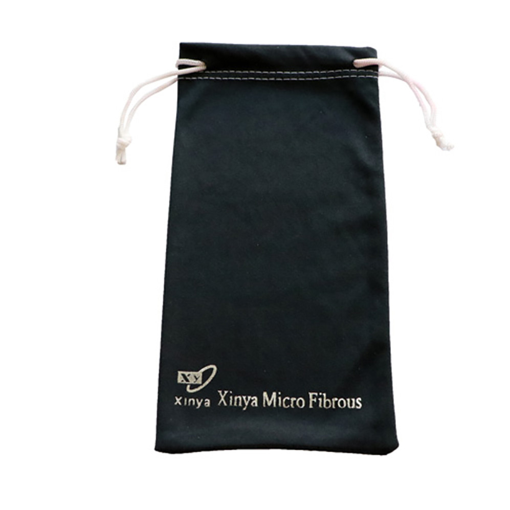 Microfiber Fabric Silver Stamping Drawstring Glasses Pouch with Silver Logo