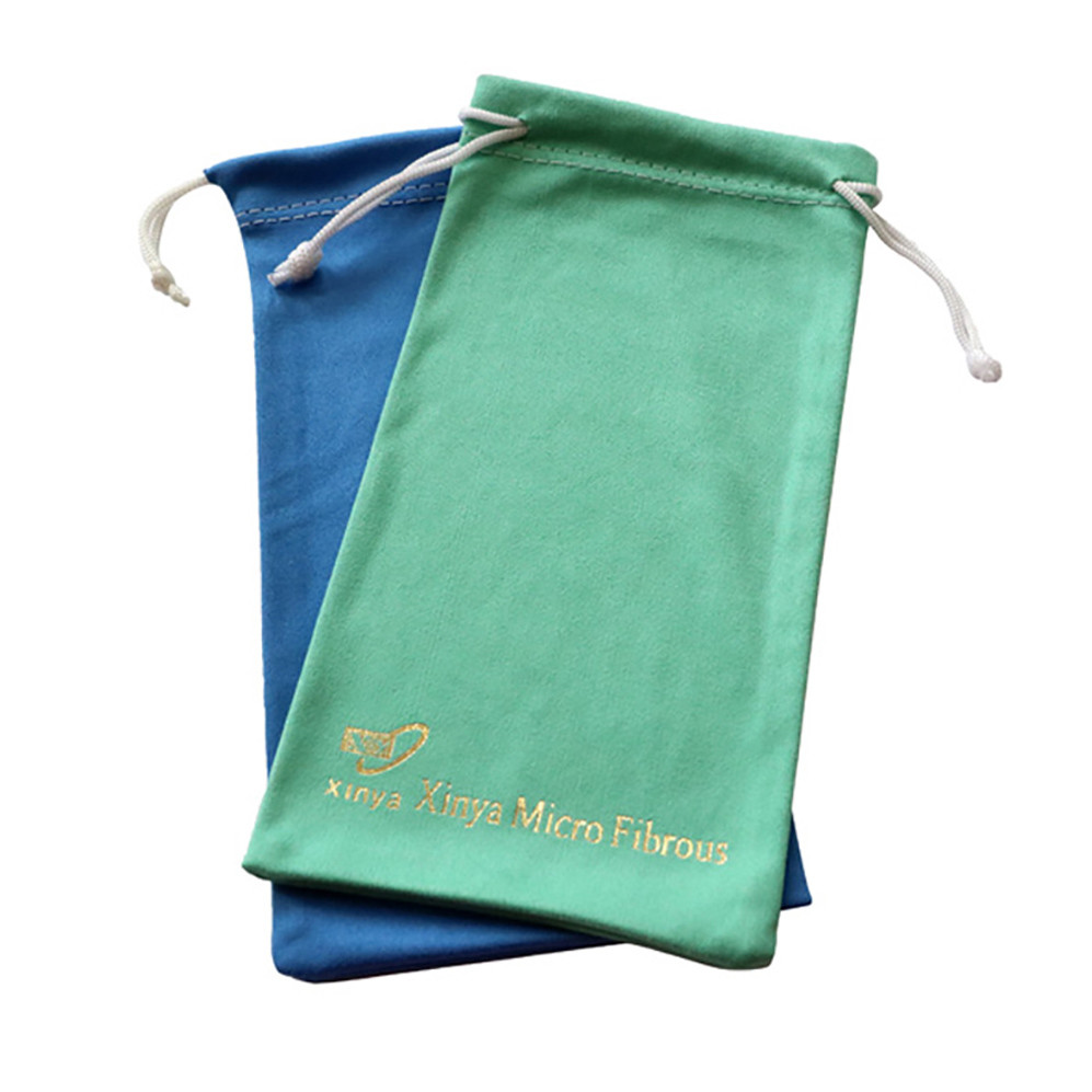 Wholesale  Microfiber Fabric Sunglass Pouch For Glasses Microfiber Pouch With Drawstring Fabric Jewelry Pouches