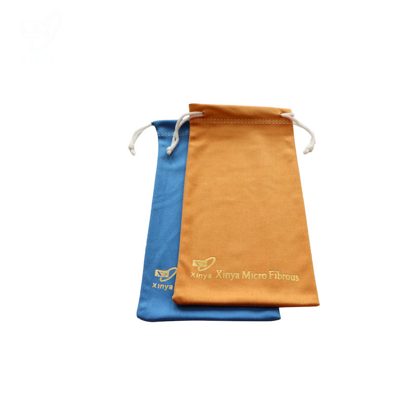 Microfiber Metalic Gold Drawstring Pouch With Company Logo