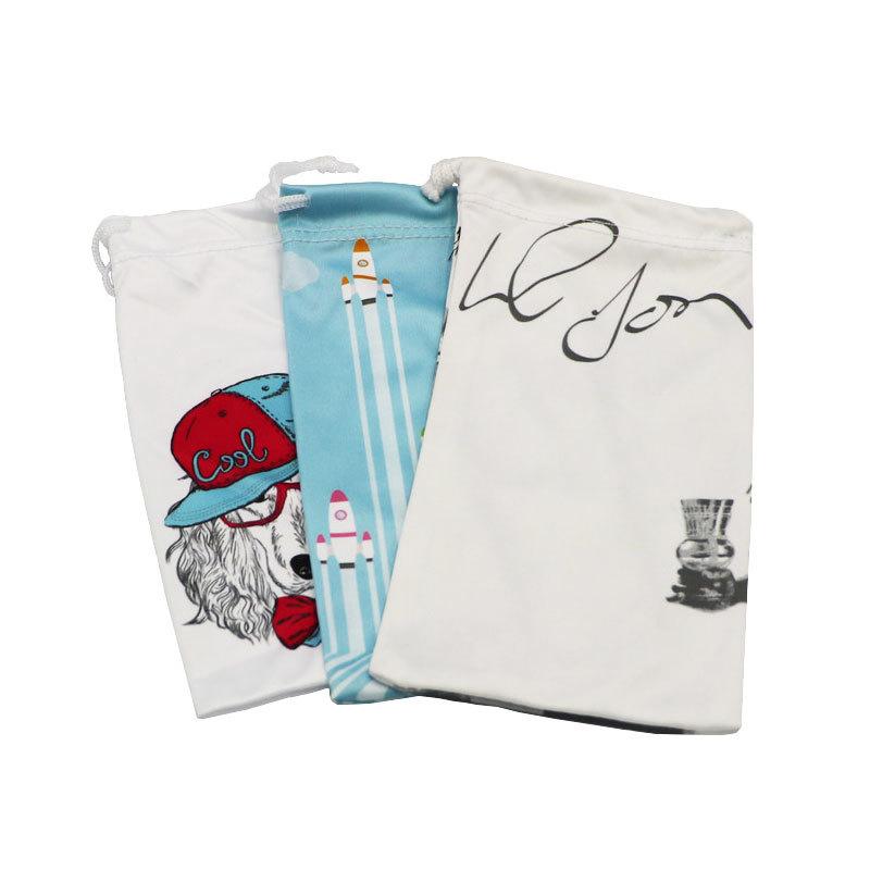 Custom Logo Print Microfiber Drawstring Bags With Oem